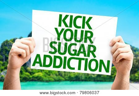 Kick Your Sugar Addiction card with a beach on background