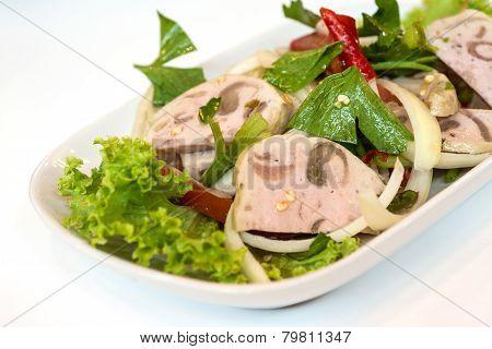 Close Up Of Thai Cuisine Spicy Pork Salad