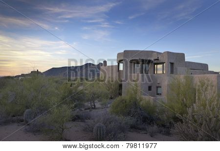 Desert xeriscape design new home mountain background, Arizona,USA poster