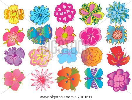Many designs of flowers with simple shape