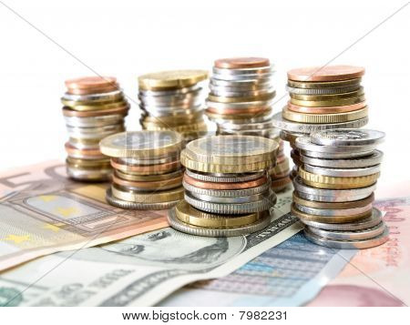 Currencies Over White Background
