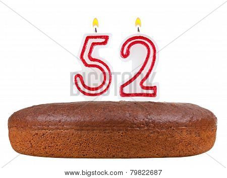 Birthday Cake With Candles Number 52 Isolated