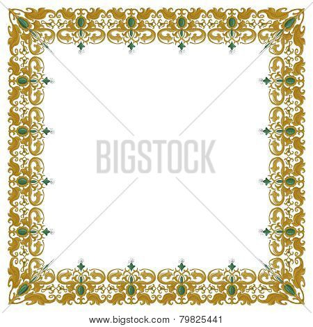 Decorative square ornament with traditional medieval elements on isolated white
