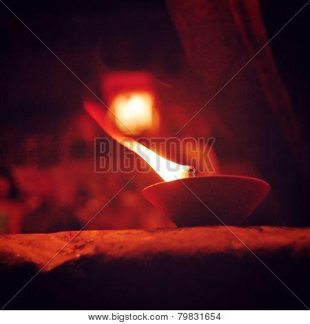 Burning Candles Around Varanasi Puja - Vintage Effect.