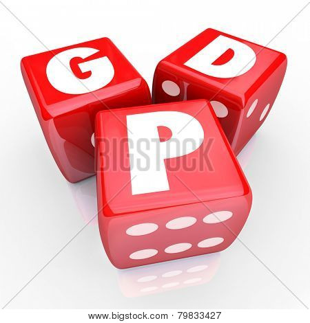 Gross Domesic Product GDP letters on three red dice to illustrate national production, manufacturing or output of goods and services to measure the size or value of a country's economy