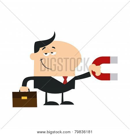 Smiling Manager Holding A Magnet.Flat Design Style