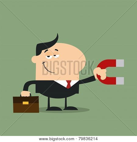 Manager Holding A Magnet.Flat Design Style
