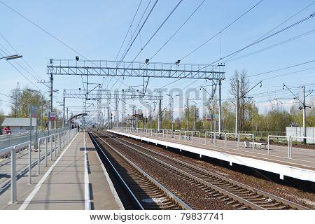 View of Railway station Slav Leningrad Region Russia. poster