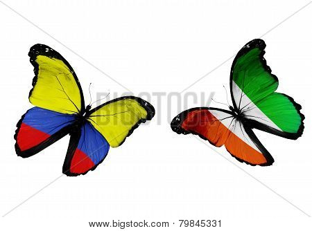 Concept - Two Butterflies With Columbia And Cote Divoire Flags Flying, Like Two Football Teams Playi