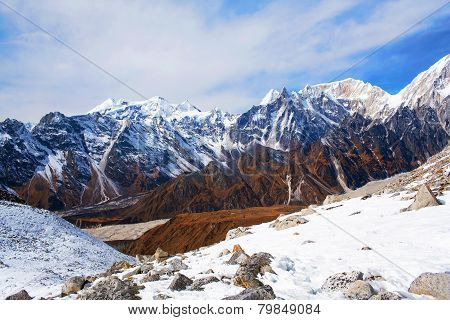 Larke Pass in the Nepal Himalaya. A glacial saddle known as Larke Pass (Larkya La), with an elevation of 5,106 metres (16,752 ft), lies north of Manaslu. poster