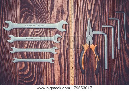 tools set on a wooden background