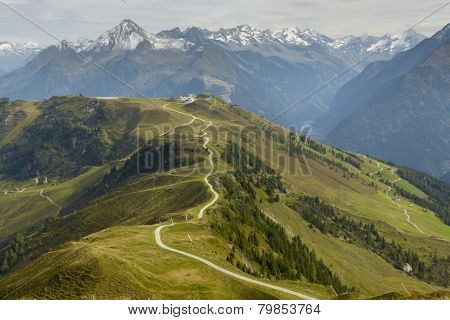 Mountain bike trail in the Alps