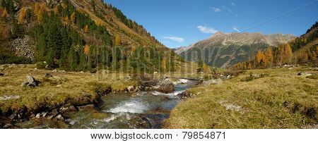 Panoramic image of a Tyrolean mountain pastures
