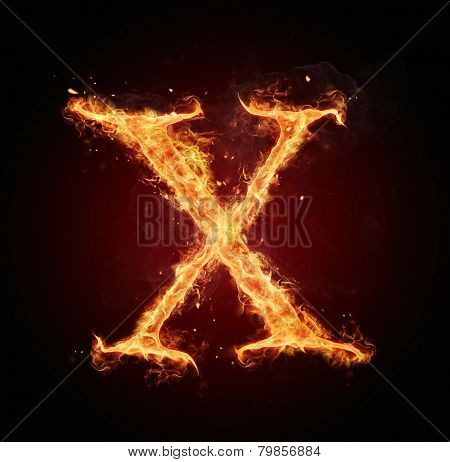 Burning fire letter isolated on black background