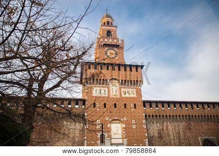 Sforza's Castle (Catello Sforzesco) in Milan, Italy.