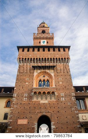 Sforza's Castle (Catello Sforzesco) in Milan, Italy.