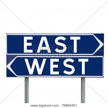 Blue Direction Signs with choice between East or West isolated on white background