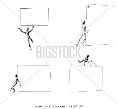 3d render of four figures with a billboard in four positions, Illustration on white background