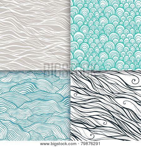 Neutral hand drawn doodle seamless patterns set