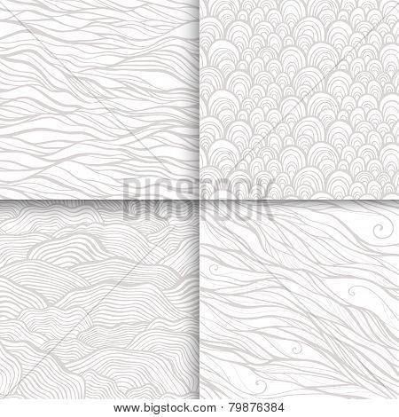 Neutral monochrome doodle seamless patterns set