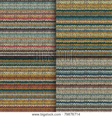 Set of seamless patterns with knitted stripes