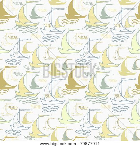 Seamless nautical pattern with decorative sailing boats
