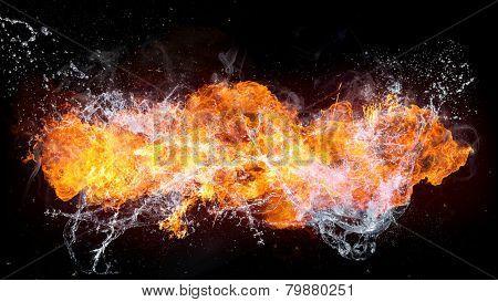 Beautiful stylish fire flames with water splash, close-up.