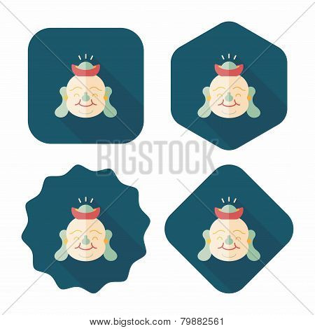 """Chinese New Year Flat Icon With Long Shadow,eps10, Maitreya Means """"bless You Have Wealth, Monasticis, Design elements for mobile and web applications, stylish colors of vector illustration. poster"""