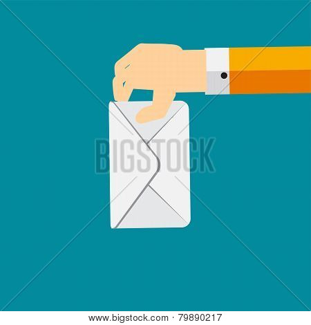 Voting Hand Flat Concept Vector Illustration