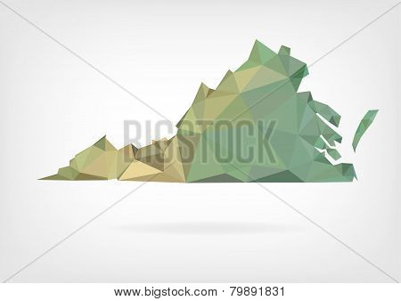 Low Poly map of Virginia state
