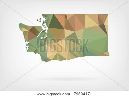 Low Poly map of Washington state