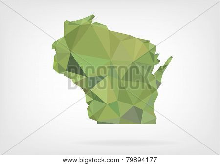 Low Poly map of Wisconsin state