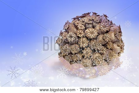 Ball Of Dried Poppy Heads With Snowflakes