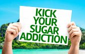 Kick Your Sugar Addiction card with a beach on background poster