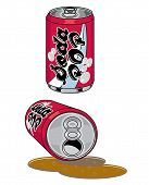Soda Pop beverage cans spilled and upright vector art and illustration poster