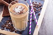 Coconut coffee chocolate smoothie on a chalk board poster