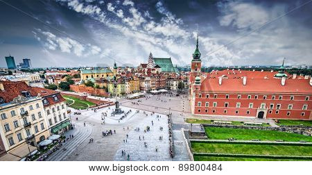 Plac Zamkowy in Warsaw old town, Poland