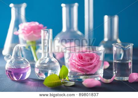 alchemy and aromatherapy set with rose flowers and chemical flasks poster