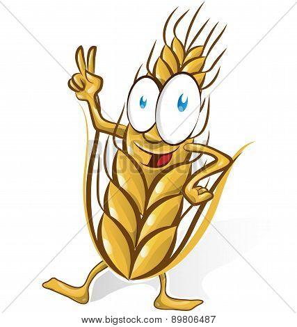 Wheat Cartoon Isolated On White  Background