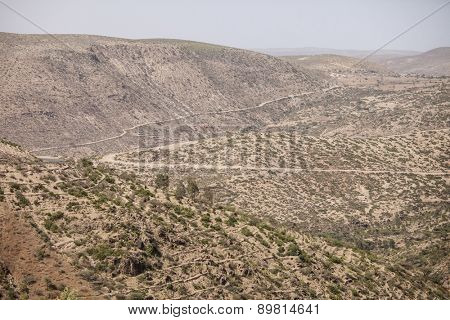 desert mountains of eastern Ethiopia with terraced cropland