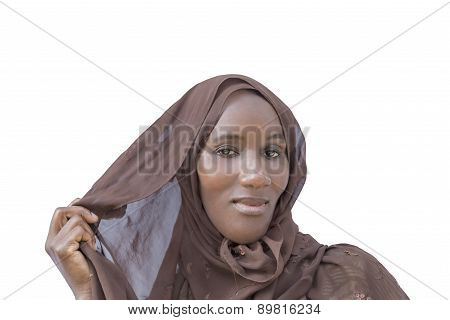 African woman wearing a traditional headscarf, isolated