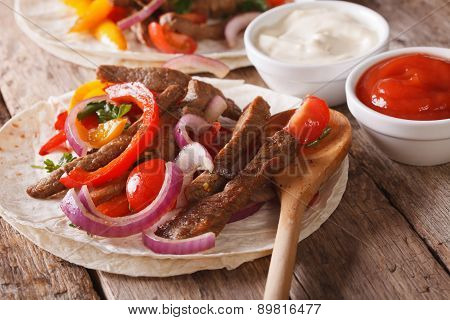 Tortilla With Beef And Vegetables Close-up. Horizontal Rustic