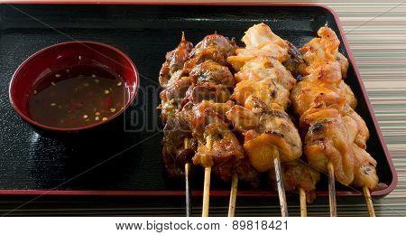 Chicken Grilled Or Barbecue Chicken On Skewer