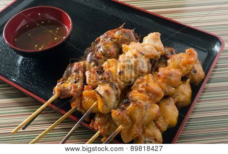 Delicious Barbecue Chicken Grilled Food On Skewer