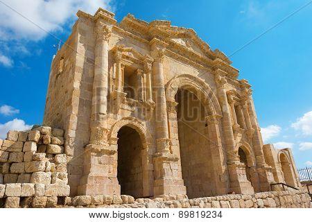 The Arch Of Hadrian At Jersah In Jordan