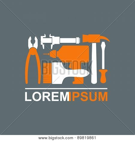 Logo of Construction tools. Carpentry tools to master. Pliers, screwdriver, drill, hammer, brush. Te