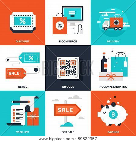 Vector set of flat shopping and commerce icons. Icon pack includes following themes - delivery, ecommerce, QR code, discount, holidays shopping, for sale, savings, new product, wish list poster