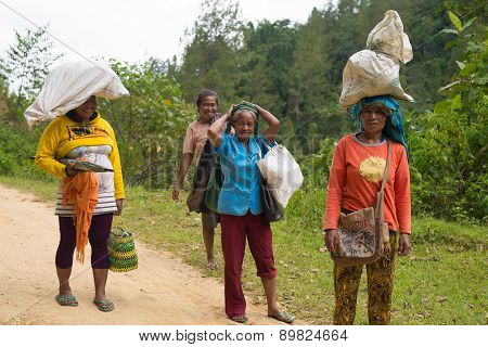Women Carrying Sacks On Head In Indonesia
