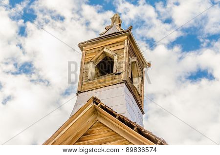 Bell Tower In The Gold Mining Ghost Town Of Bodie, California