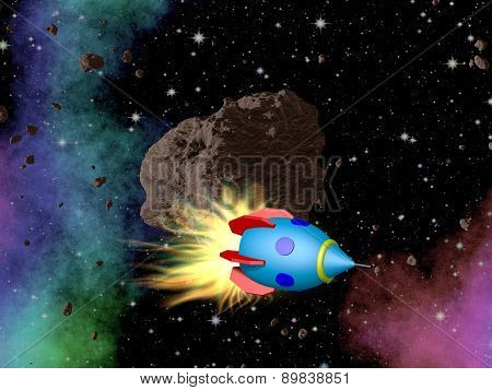 Rocket in Outerspace with Asteroid